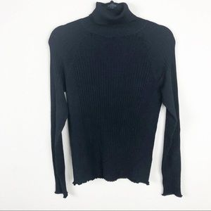 Zara | Knit black turtleneck top